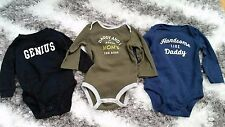 CARTER'S SET OF 3 BABY BOY GIRL 9 MONTHS ONESIES DADDY HANDSOME MOM BOSS GENIUS