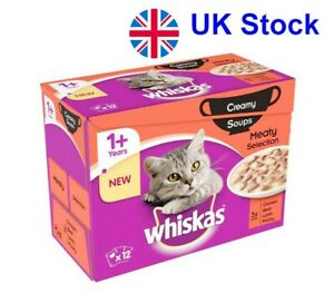 Saver Pack: 48 x 85g Whiskas 1+ Creamy Soup Classic Selection For Adult Cats