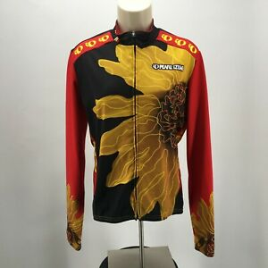 Pearl Izumi Full Zip Long Sleeve Sunflower Cycling Jersey Womens L Red Yellow
