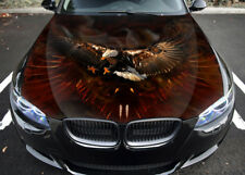 Eagle Birds Fire Car Hood Wrap Full Color Vinyl Sticker Decal Fit Any Car