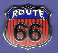 ROUTE 66 RED WHT BLUE HAT PIN LAPEL TIE TAC ENAMEL BADGE #1471