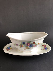 Victoria China Czechoslovakia Gravy Boat With Attached Underplate Wildflowers