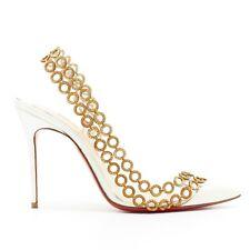 CHRISTIAN LOUBOUTIN Malaika 100 white patent PVC gold ring sling dorsay EU37.5