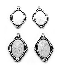 20mm Cameo crafts Pendants Frames Settings 4 Ant. Silvertone Sheena Style 30mm x