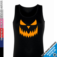 Ladies Pumpkin Face Vest • Tank Top Girls Funny Party Top Halloween Gift Outfit