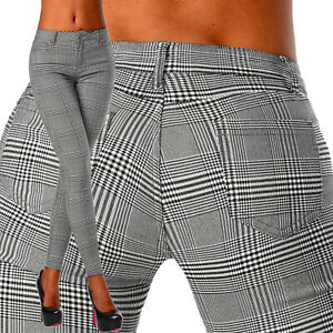 Sexy Women's Stretchy Chequered Black& Grey Office Jeans Trousers Skinny C 129