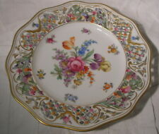 SCHUMANN BAVARIA BLUE MARK GERMANY CHATEAU DRESDEN RETICULATED PLATE FLOWERS GIL