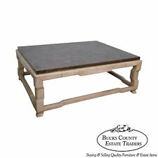 Marge Carson Tessellated Marble Top Leather Wrapped Coffee Table