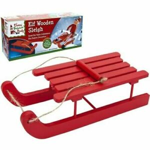 Wooden Red Elf Sleigh Sled Naughty Elves Christmas Accessory Decoration SALE