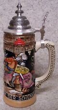 Beer Stein with lid Stoneware Castle & Knight 1 Liter NEW Made in Germany boxed