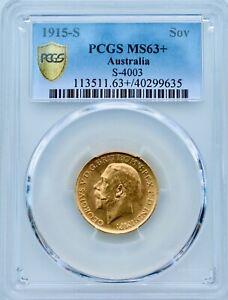 AUSTRALIA 1915 S GOLD COIN SOVEREIGN PCGS SECURE MS63+ PLUS