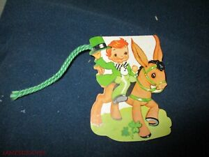 UNUSED VINTAGE BRIDGE TALLY CARD ST PATRICKS DAY BOY ON DONKEY USA A MERI CARD