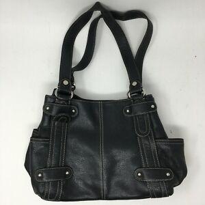 Tignanello Womens Large Double Top Handle Tote Shoulder Bag Black Leather