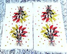 VINTAGE PAIR TWO 1950's EARLY 60's NOS NEVER USED  WHEAT STALKS KITCHEN TOWELS