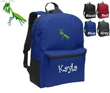 Personalized Kids Backpack Embroidered Praying Mantis Insect Monogrammed