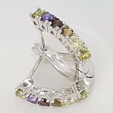 New Sterling Silver Huggie Style Pave Set CZ Multi Color 2 Latch Back Earrings