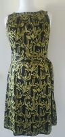 Monsoon Ladies  Print Shift Dress UK 14 Lined Black and Lime EUR 42