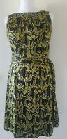 Monsoon Chiffon Leaf Print Belted Woodland Wiggle Pencil Dress UK 14