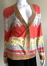 New MISSONI Cashmere/Silk Floral Cardigan Size 46, ITALY