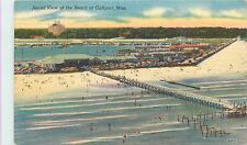Linen Postcard Aerial View of the Beach at Gulfport MS Harrison County Posted