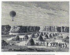 Antique print Franco-Prussian War 1875 Heißluftballon Siebziger Krieg holzstich