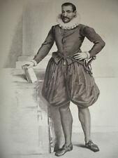 MOYEN AGE / GRAVURE 1840 / DUPLESSIS MORNAY