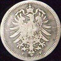 1874-F Good Germany Empire Silver 20 Pfennig - KM# 5