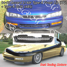 TR Style Front Bumper Lip (PP) + TR Style Grill (ABS) Fit 94-95 Honda Accord