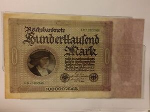 1923 Germany, German Reichsbanknote ,RBD100000 Mark, Currency Banknote,Excellent
