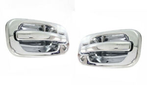 Chrome Door Handles For Chevy Silverado Sierra 99-06 Front Pair With Keyholes