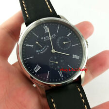 Parnis 41mm Black Dial Power Reserve Seagull Automatic Movement Wrist Watch 2522