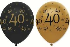 "40TH BIRTHDAY PACK OF 6 BLACK AND GOLD 12"" ROUND LATEX BALLOONS"