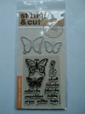 HERO ARTS STAMP & CUTS BUTTERFLY PAIR CLEAR STAMPS WITH MATCHING DIE-CUTS BNIP