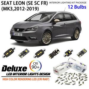 12 Bulbs Deluxe LED Interior Dome Light Kit White For MK3 2012-2019 SEAT LEON