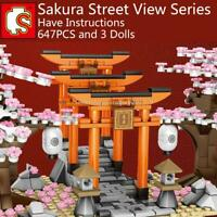Sembo City Japan Sakura Torii Street View Mini Blocks Building Bricks Figures