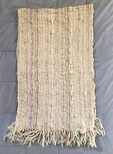 """HANDMADE Woven LAP BLANKET Afghan THROW Tight NUBBY Weave RIBBONS 64"""" x 20"""""""