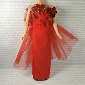 EVENING W ~ DRESS ~ BARBIE FASHION DOLL SIZE RED VELVET SEQUIN STRAPLESS GOWN