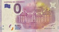 BILLET 0  EURO  CHATEAU DE CHEVERNY   FRANCE 2016 NUMERO 100