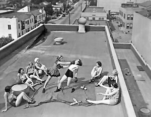 RADIO PICTURES Chorus Girls 1938 Boxing on Roof Hollywood Vintage Photo Reprint