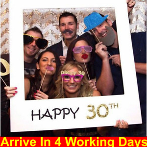 Happy 18/30/40/50/60th 21st Birthday Frame Photo Booth Props Paper Party Decor