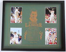New Justin Langer Collectors Memorabilia Framed