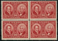 Canada SG 273 20c Carmine Block Of Four Lightly Mounted Mint
