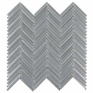 Classic .25X2 Herringbone Gray Metallic Glass Mosaic Tile MTO0510