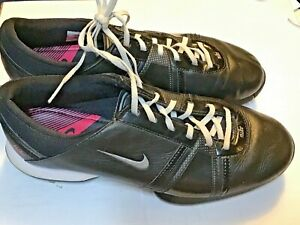 Nike Women's Leather TAC Black & Pink Soft Cleats Size 7.5