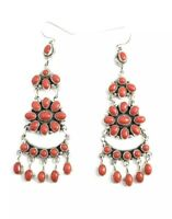 Native American Sterling Silver Navajo Handmade Natural Coral Dangle Earrings