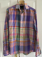 """Duchamp Linen Shirt 39"""" 15.5"""" Check Long Sleeve Slim Fit Woven in Italy"""