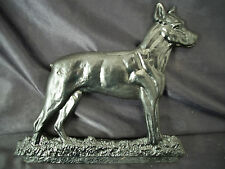 Metal plaque black dog garden wall decoration boxer type canine grave art Ruff!