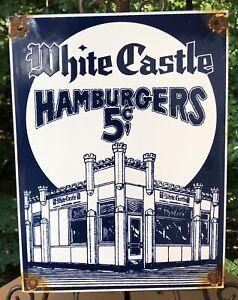 VINTAGE WHITE CASTLE HAMBURGERS PORCELAIN RESTARAUNT FOOD ADVERTISEMENT SIGN