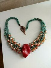 Chunky teal crystals ,real pearls, seed bead necklace & Large RED cinnabar stone