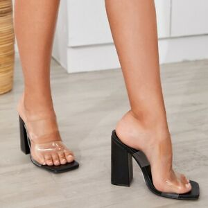 Womens Pvc Slipper Block Heel Square Open Toe Sandals Fashion High Heels Slip On